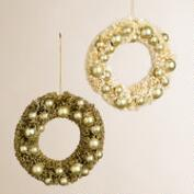 Bottlebrush Wreath Ornaments, Set of 2