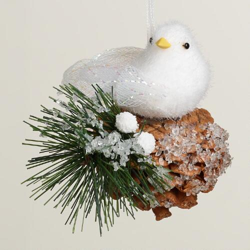 White Fabric Bird on Pinecone Ornament