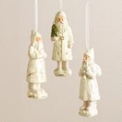 White Old-World Santa Ornaments, Set of 3