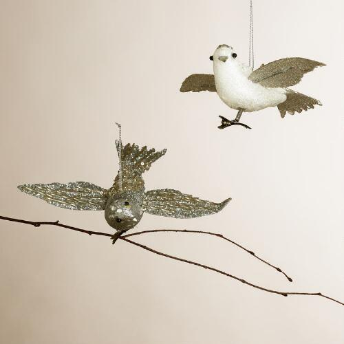 Beaded Bird Ornaments, Set of 2