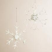 Metal Frosted Snowflake Jewel Ornaments, Set of 2