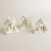 Small White Paper House Ornaments, Set of 3