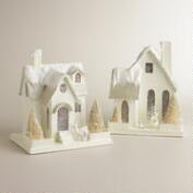 Large White Paper House Ornaments, Set of 2