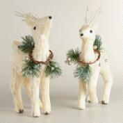 Natural Fiber Deer with Gold Wreath, Set of 2
