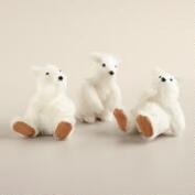 White Fabric Polar Bear Cubs, Set of 3