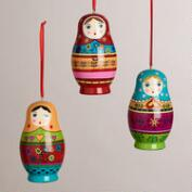 Wooden Russian Doll Ornaments, Set of 3