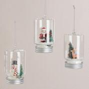 Glass Jar Cloche Ornaments, Set of 3
