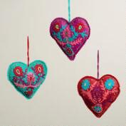 Felt Crewelwork Heart Ornaments, Set of 3