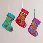 Felt Crewelwork Stocking Ornaments, Set of 3