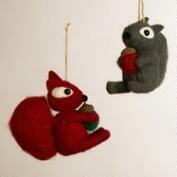 Felt Squirrel with Acorn Ornaments, Set of 2