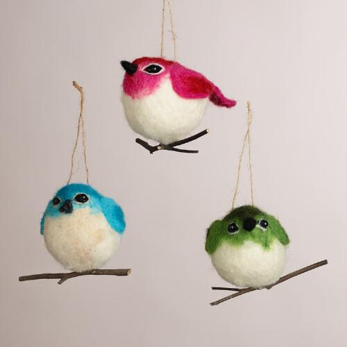 Felt Bird on Twig Ornaments, Set of 3