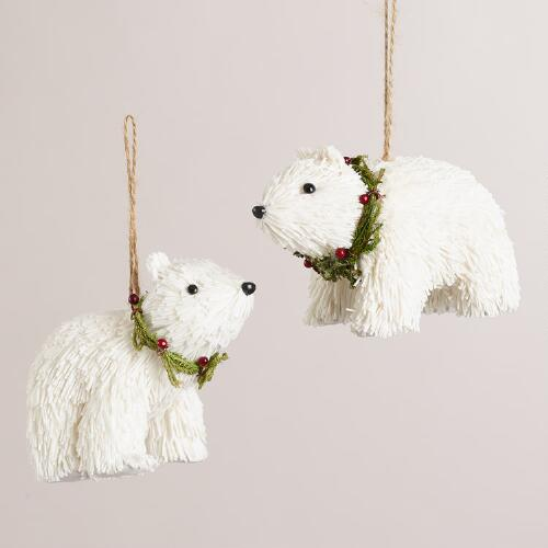 Paper Polar Bear with Berry Wreath Ornament, Set of 2
