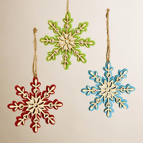 Wood and Felt Snowflakes, Set of 3