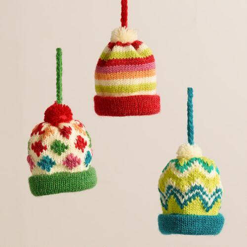 Retro Knit Cap Ornaments, Set of 3