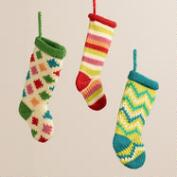 Retro Knit Stocking Ornaments, Set of 3
