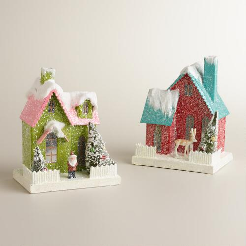 Retro Paper Houses, Set of 2