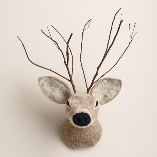Wool Deer Head Wall Decor