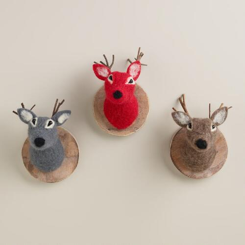 Wool and Wood Deer Plaques, Set of 3