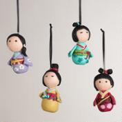 Clay Kokeshi Doll Ornaments -Set of 4
