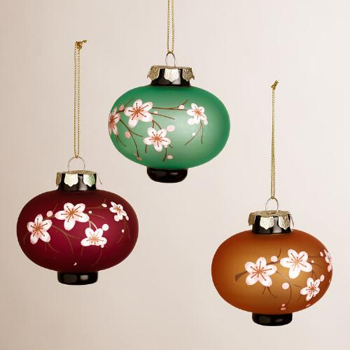Glass Plum Blossom Lantern Ornaments, Set of 3