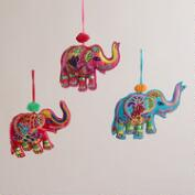 Embroidered Fabric Indian Elephant Ornaments -Set of 3
