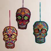 Embroidered Fabric Skull Ornaments, Set of 3