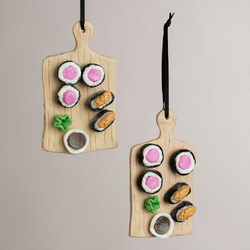 Clay Sushi Board Ornaments, Set of 2
