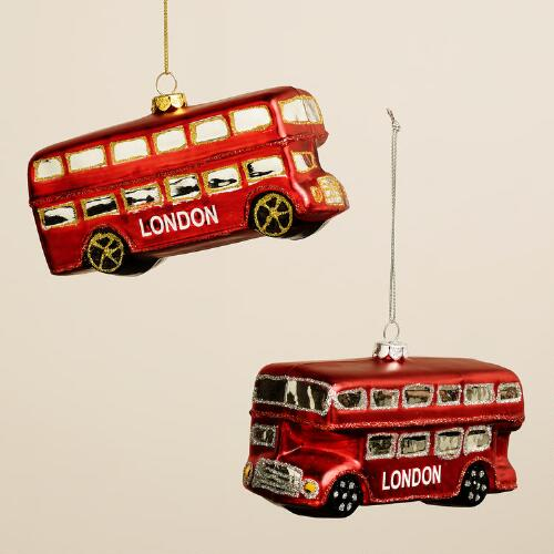 Glass London Bus Ornaments, Set of 2