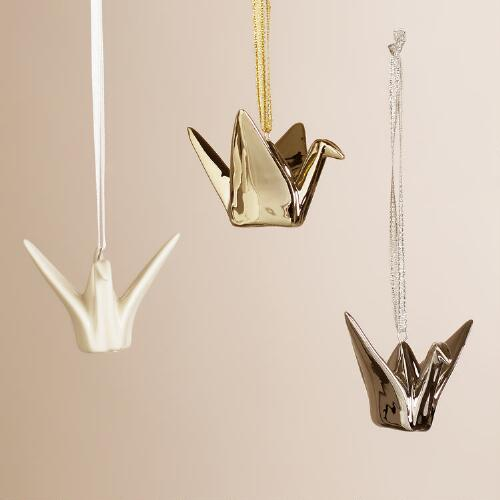 Ceramic Origami Crane Ornaments, Set of 3