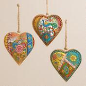 Indian Patchwork Metal Heart Ornaments, Set of 3