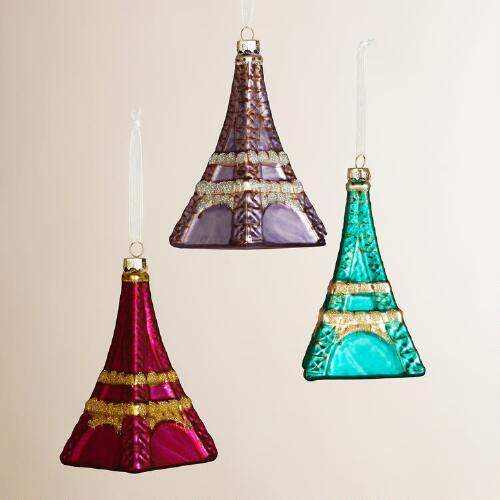 Glass Eiffel Tower Ornaments, Set of 3