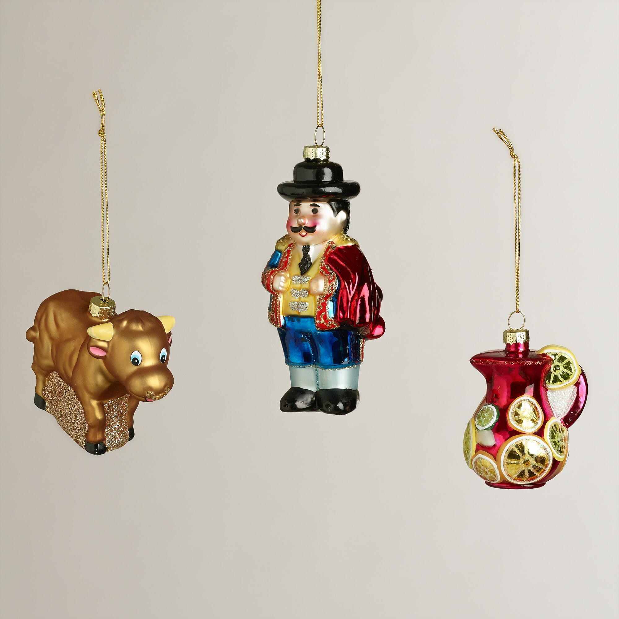 Glass spain boxed ornaments set of world market