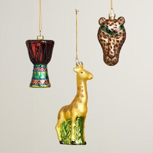 Glass Africa Boxed Ornaments, Set of 3