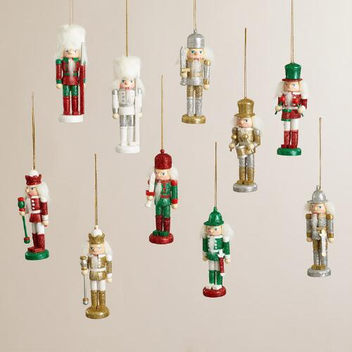 Wooden Traditional Nutcracker Ornaments, Set of 2
