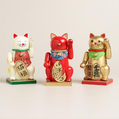 Lucky Cat Chubby Nutcrackers, Set of 3
