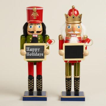 Traditional Nutcrackers with Chalkboard, Set of 2