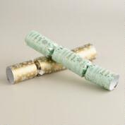 Medium Mint and Gold Greeting Crackers, 8-Count