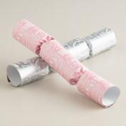 Medium Silver and Pink Greeting Crackers, 8-Count