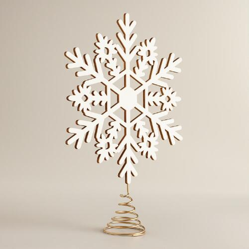 Laser Cut Wooden Snowflake Tree Topper