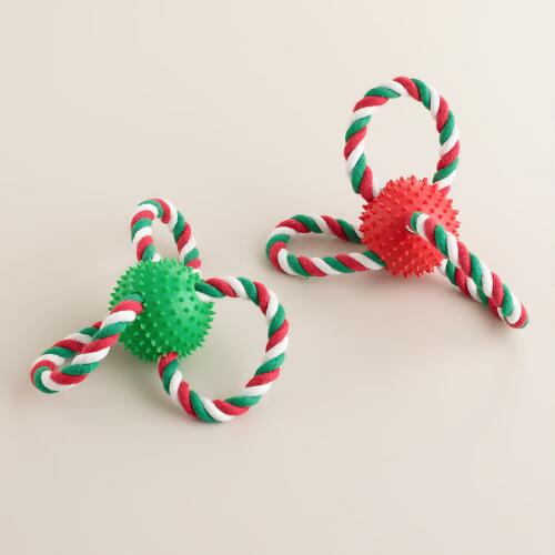 Pet Chew Ball with Rope Loops, Set of 2