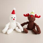 Plush Reindeer and Snowman Pet Toys, Set of 2