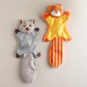Crinkle Fox and Raccoon Pet Toys, Set of 2