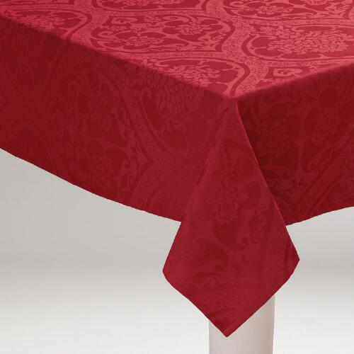 Red Damask  Ogee Tablecloth