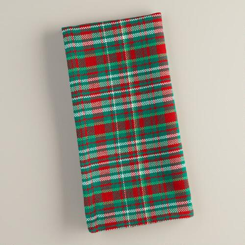 Red and Green Plaid Cotton Napkins, Set of 4