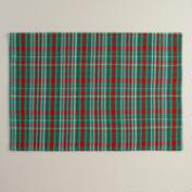 Red and Green Plaid Cotton Placemats, Set of 4