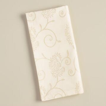 Ivory and Gold Floral Cotton Napkins, Set of 4