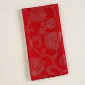 Red and Gold Floral Cotton Napkins, Set of 4