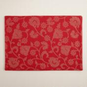Red and Gold Floral Cotton Placemats, Set of 4