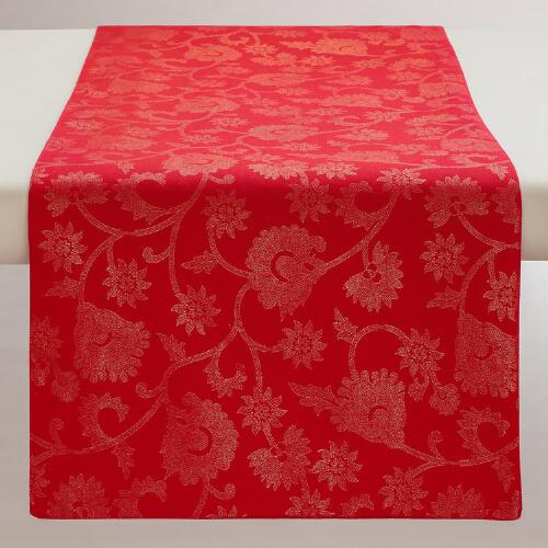 Red and Gold Floral Cotton Table Runner