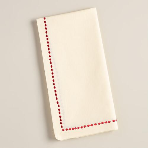 Ivory and Red Embroidered Cotton Napkins, Set of 4